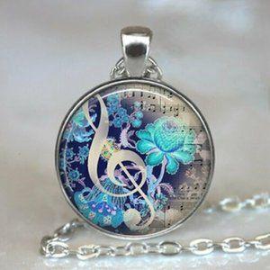 Silver Music Note  Cabochon Pendant Necklace